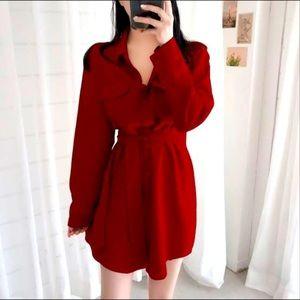 Marissa Webb red silk button down robe dress